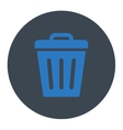 Trash Can flat smooth blue colors round button vector image vector image