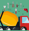truck with under construction equipment vector image vector image