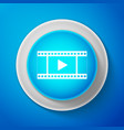 white play video icon isolated on blue background vector image vector image