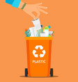 woman hand throws garbage vector image vector image