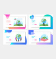 world in hands landing page template set vector image