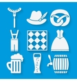 Oktoberfest beer festival icons set in white and vector image
