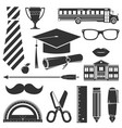 graduation icons set isolated on white vector image