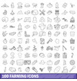 100 farming icons set outline style vector image