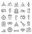 Big set linear icon camping and tourism vector image vector image
