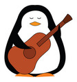 black and white penguine holding a brown guitar vector image