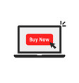 black laptop with red buy now button vector image vector image