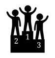 black silhouette human winners on podium vector image vector image