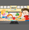 boys and girls cleaning the kitchen vector image vector image