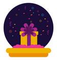 cake gift box confetti birthday celebration vector image