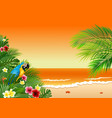 card with tropical beach plants and parrot vector image vector image