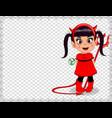 cartoon baby girl in red devil imp costume framed vector image