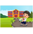 Cartoon boy holding a pile of booksrural child l vector image