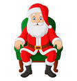 cartoon santa claus sitting in chair vector image vector image