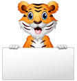cartoon tiger with blank sign vector image vector image