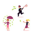 casual people chasing for money set vector image vector image