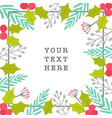 christmas plants frame greeting card vector image vector image