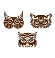 collection wise old owl faces vector image vector image