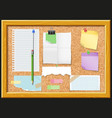cork board and note papers design vector image