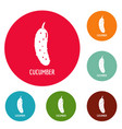 cucumber icons circle set vector image