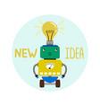 cute boy robot new idea emblem vector image