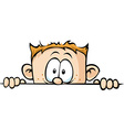 funny boy peeking out - isolated on white vector image vector image