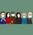 group people in protective masks vector image