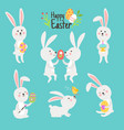 happy easter bunnies with eggs vector image