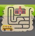 help the school bus find the way to school vector image