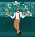 hipster bartender deftly juggles bottles vector image