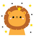 lion face head icon cute kawaii animal golden vector image vector image