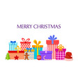 merry christmas card with gift boxes pile of vector image vector image