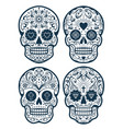 mexican skulls with patterns vector image