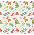 New Year or Christmas pattern of icons flat style vector image vector image