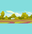 park landscape with paths and trees with bushes vector image