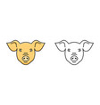 pig face cartoon icon piggy symbol of 2019 vector image vector image