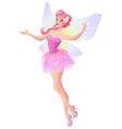 Pink fairy with butterfly wings flying and vector image