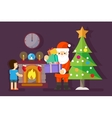 Santa gives gifts to little boy at Christmas tree vector image