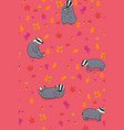 seamless autumn pattern with badgers and leaves vector image