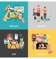 Selfies 4 flat icons square banner vector image vector image