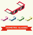 Set of colorful isometric summer sunglasses vector image