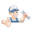 spanner man over sign thumbs up vector image vector image