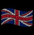 waving united kingdom flag mosaic of quality icons vector image