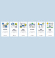 web site onboarding screens data exchange sync vector image vector image