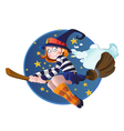 young witch on the hexenbesen vector image vector image