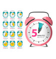 alarm clock set retro analog time indicator vector image vector image