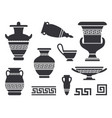 ancient black greek vases set vector image vector image
