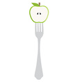 Apple on fork vector image vector image