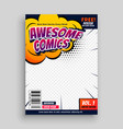 awesome comic book cover page design template vector image vector image