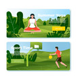banners - basketball player yoga in park vector image vector image